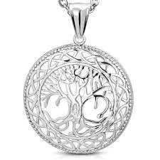 stainless steel cut out bodhi tree of celtic knot medallion