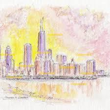 chicago skyline watercolors u2013 condren galleries ltd