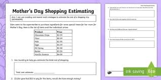 s day shopping s day shopping estimate problem activity sheet s