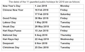 todayonline 4 weekends expected in 2018