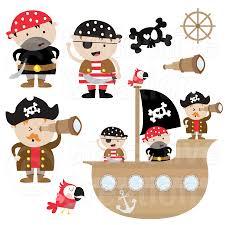 pirates and pirate ship digital clip art set por