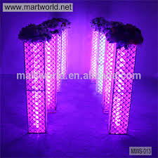 2017 latest crystal wedding decoration pillar with changeable led