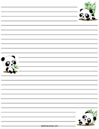 printable animal lined paper printable panda stationery and writing paper multiple versions