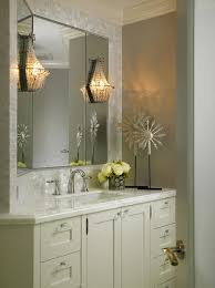 Single Sconce Bathroom Lighting Beaded Wall Sconce Transitional Bathroom Cindy Ray Interiors