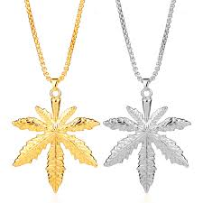 leaf charm necklace images Dongsheng gold silver plated cannabiss iced out small weed herb jpg