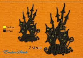 haunted house halloween embroidery design 2 sizes u0026 8 formats