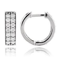 huggie earring gold diamond earrings hoops huggie earrings 0 85ct