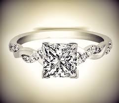 square engagement rings with band princess twisted pave band engagement ring goin