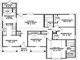 Single Story House Floor Plans Four Bedroom One Story House Plans Nrtradiant Com