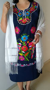 embroidery mexican dress and rebozo large navy blue mexican