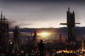 sunset alone wallpapers futuristic city alone construction horizon lights sun clouds
