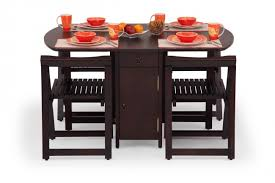 Buy Folding Dining Table Set Online  Seater Wooden Dining Set - Foldable kitchen table