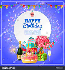 Birthday Party Cards Invitations Happy Birthday Party Template Background Invitation Stock Vector