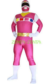 Pink Power Ranger Halloween Costume Power Ranger Space Pink White Spandex Lycra Catsuit