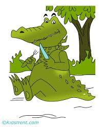 mannered alligator coloring pages kids color print