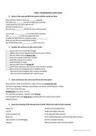 10 free esl gotye worksheets