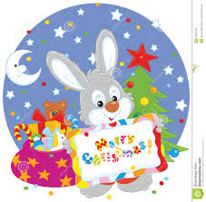 bunny with christmas card stock vector image 61594349