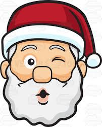 a winking face of santa claus blowing some kisses cartoon clipart