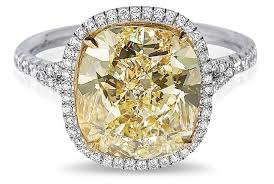 halo cushion cut engagement ring fancy yellow cushion cut ring with micropavé halo in