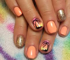 beach coral gel hombre fade palm tree nails my nails artistic