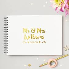 guestbook wedding personalised mr and mrs wedding guest book by martha brook