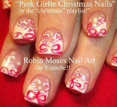diy xmas candy cane and bows nail art design tutorial youtube