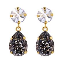 black drop earrings classic drop earrings black patina caroline svedbom jewelry