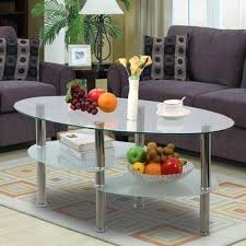 Wood Living Room Table Sets Amazon Com Topeakmart Modern Oval Glass Coffee Table Living Room