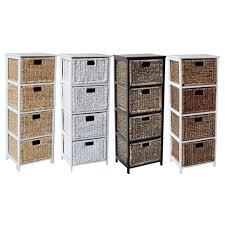 storage unit with wicker baskets wicker rattan 4 drawer storage drawer