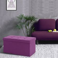Fabric Storage Ottoman Bench by Purple Ikayaa Modern Linen Fabric Folding Storage Ottoman Bench