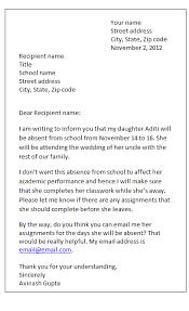 leave letter sample formal letters