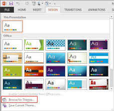 applying themes in powerpoint word and excel 2013 windows