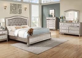 Eastern King Bed Metallic Platinum Eastern King Bed Dresser Mirror U0026 Nightstand