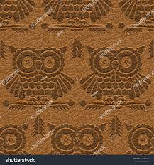 Abstract Decorative Owls Carving On Textured Stock Vector