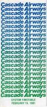 Skywest Route Map by Airline Timetables Cascade Airways February 1981