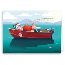 santa fishing in boat card 18 cards