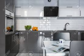 high gloss white kitchen cabinets high gloss white and gray cabinets in modern kitchen