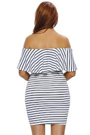 Black And White Striped Bodycon Dress Her Chic White Black Striped Off Shoulder Bodycon Dress