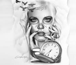 muerte watch tattoo design drawing by charles laveso no 1311