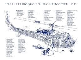 bell uh 1b iroquois military helicopter engineering drawing