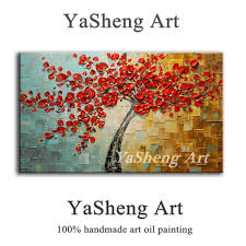 hand made oil painting palette knife thick paint red tree flowers