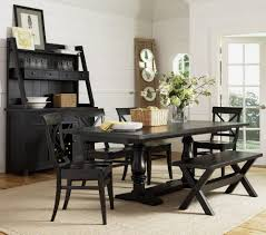 country black dining room table idea with bench and flower