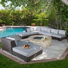 Swimming Pool Furniture by Amazon Com Bowen Outdoor 8pc Light Brown Wicker Sunbrella Sofa