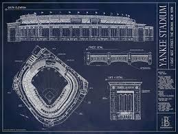 amazon com yankee stadium ballpark blueprint home u0026 kitchen