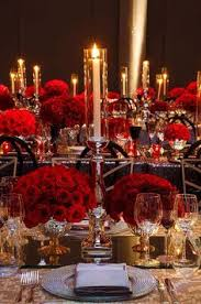 red black and white wedding reception red roses large center