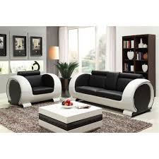 canape convertible noir et blanc ensemble canapé 3 places fauteuil en croûte de cuir