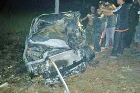 fiery car crash claims three lives in kampong thom national