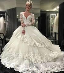 vintage beaded appliques wedding dresses tiers long sleeves 2016