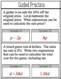 expressions and percents worksheet 7 ee 2 by math on the move