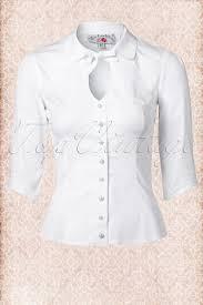 keyhole blouse 50s tessa charming white keyhole blouse